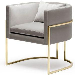 Кресло тканевое мягкое с металлическими ножками